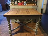 Vintage shabby chic drawer leaf extending dining / kitchen table