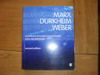 Marx Durkeim Weber formation of modern social thought