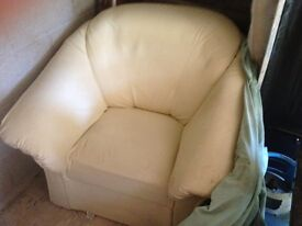 Cream leather style arm chair