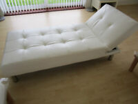 White Leather look 3 seater Sofa or Sofabed, Multifunction, Use as Settee or Bed or Chair.