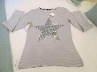 LOVELY GIRLS BRAND NEW B/W STRIPED TOP WITH SEQUINED STAR - AGE 12-13