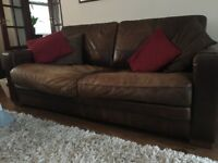 Archibalds Brown Italian Leather Sofa/chair/footstool
