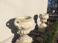 Pair Large stone urn garden planter