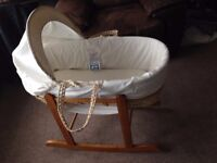 Moses basket with pine rocking stand, all clean ready for re use.