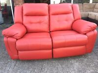 La-Z-Boy Red 2 and 2 Seater Leather Recliner Two Plus Lazy Boy Manual