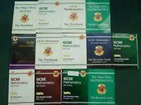 GCSE revision guides, practice, English, Eng Lit, Maths, Science, Food Tech. Photos show maths.