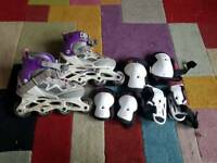 Kids roller blades and safety gear
