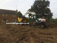 mini and micro digger hire with driver all garden work undertaken