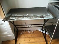 Vintage retro glass desk city scene
