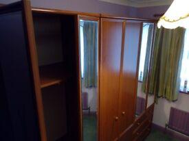 VINTAGE 1980'S BEDROOM SUITE - 3 WARDROBES & 2 BEDSIDE CABINETS