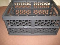 FOLDING CRATE FOR CAR BOOT STORAGE. BLACK PLASTIC.