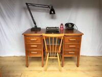 Stunning vintage oak Art Deco 1950s Mid Century desk