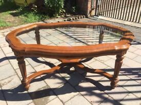 VINTAGE STYLE GLASS TOP COFFEE TABLE