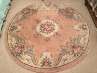 Chinese style wool traditional circular rug pink / beige / fawn floral design 188cm / 75ins