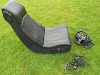 Gaming Chair + Logitech Steering Wheel