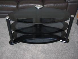 TV Stand - Corner - Black Glass - 3 Shelf
