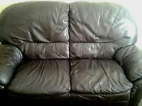 2x brown leather sofa,s