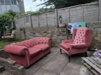 Wingback armchair and Chesterfield-like 2-seater sofa
