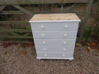 SOLID PINE CHEST OF DRAWERS --5 DRAWER--PAINTED WHITE --TOP SANDED + WAXED --2 FOR SALE £99 EACH --