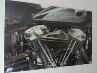 HARLEY DAVIDSON GLASS PICTURE with fittings
