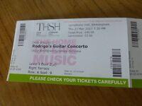Two tickets for Rodrigo's Guitar Concerto, Birmingham on 23rd March 2017
