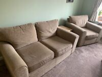 Next 2 piece sofa and chair in beige/brown - good used condition