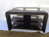 BLACK TV UNIT WITH 2 GLASS SHELVES