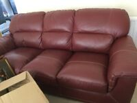 2 + 3 SEATER BURGANDY LEATHER SOFAS - EXCELLENT CONDITION