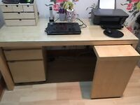Beech wood Ikea Desk with glass top and two draw under cabinet