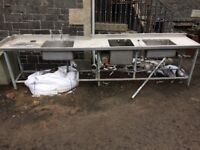 Large stainless steel 3 sink unit with legs , frame and some plumbing attachments