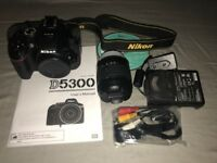 Barely used Nikon D5300, AF-P Nikkor 18-55mm lens, Tecno bag + accessories