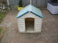 """dog kennel plastic lots of use still to be had approx size 32"""" tall 30.5"""" across 33"""" front to back"""