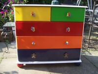 Upcycled Childrens Multi Coloured Chest of Draws.