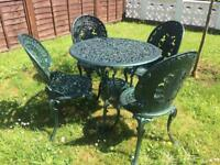 Vintage cast metal garden patio table and chair set . Delivery Possible