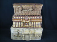 3 x Wicker Picnic Hampers / Baskets + Other Wicker items.