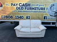 2 seater sofa in cream leather in really good condition £125