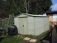 Metal garden shed with sliding doors