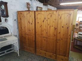 large 3 door solid pine wardrobe + 2 door wardrobe with drawers