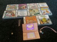 pink ds lite with 11 games