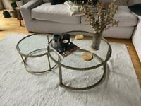 Set of Glass Topped Coffee Tables