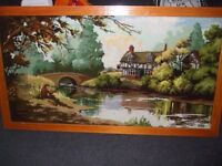 large framed wall rug fishing scene