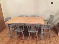 Solid pine 6 seater table and chairs