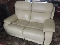 DFS Daytona 2 Seater Electric Recliner in cream leather, almost new.