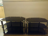 2 Black Glass TV Stands