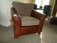 marks & Spencer Abbey leather chair with fabric base/back (excellent condition)