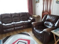 Recliner sofa with recliner single rocking seat, brown leather