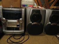 STEREO SYSTEM TIRPLE CD, RADIO AND TWIN TAPE DECK