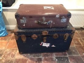 Charming Vintage Well-Travelled Tan Compressed-Fibre Suitcase