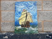 VINTAGE c 1930s OIL OVER RAISED PLASTER ON BOARD SIGNED COLOURFULL GALLEON SHIP HOME OFFICE DECOR