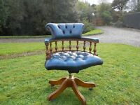 Chesterfield Captains Swivel Leather Chair